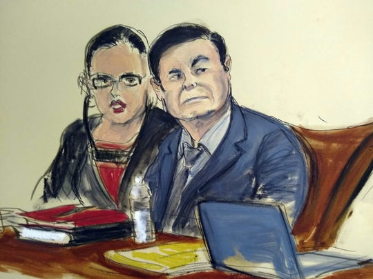 "In this courtroom sketch, Joaquin ""El Chapo"" Guzman, right, is seated at the defense table with his interpreter, in the U.S. trial of the infamous Mexican drug lord in New York, Monday, Feb. 4, 2019.  Guzman faces life in prison if convicted."