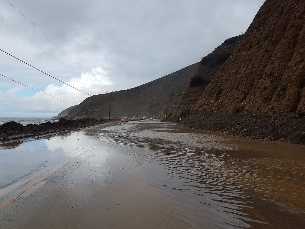 Flooding on Pacific Coast Highway Monday near Malibu closed the route for a time between Ventura and Los Angeles counties.