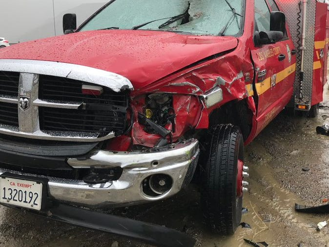 Damage to a Los Angeles County Fire Department truck caused by Saturday's fatal incident on Interstate 5.