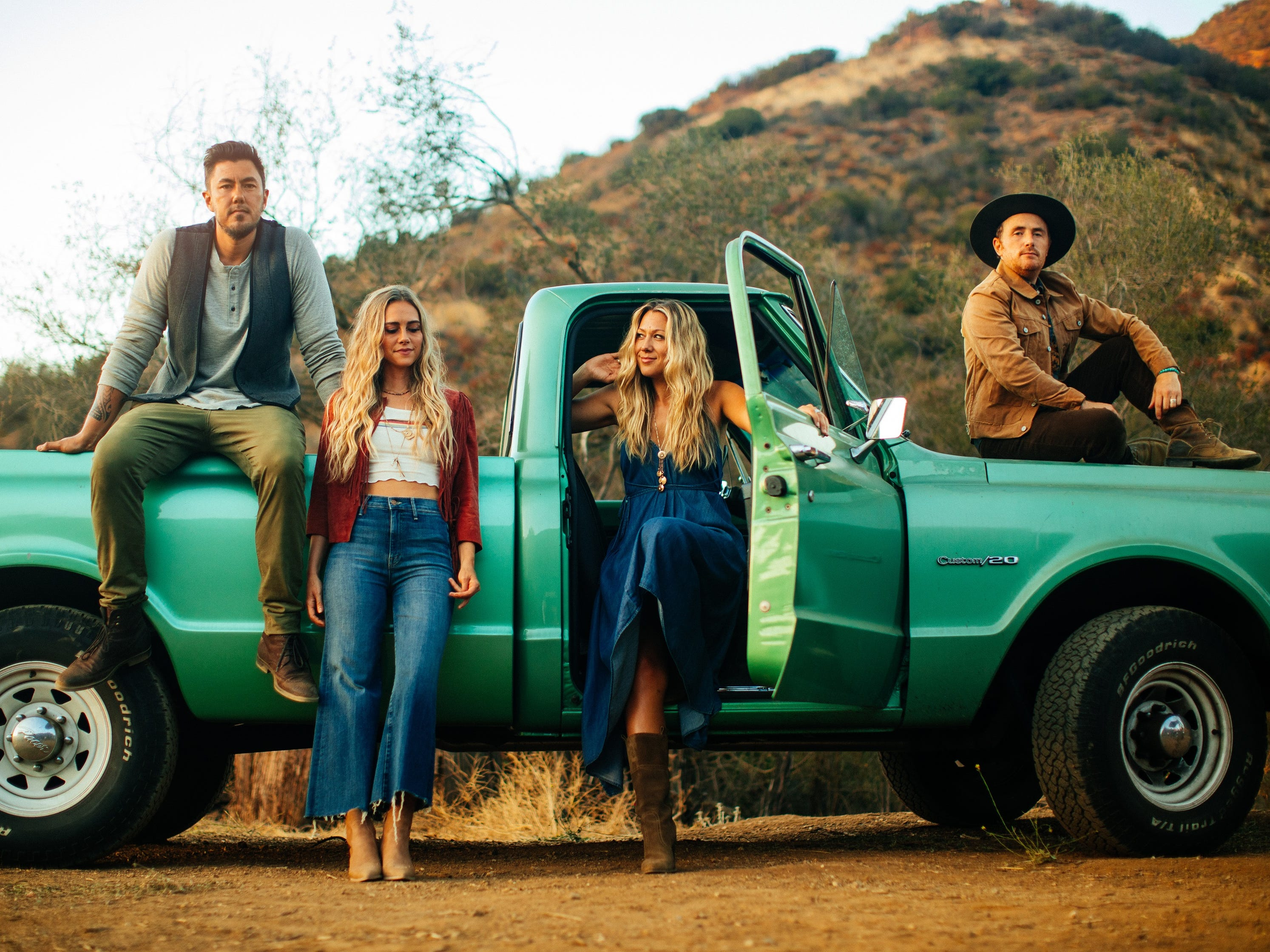 Musician Colbie Caillat's band Gone West will perform at the Borderline Strong concert Feb. 11 in Thousand Oaks. The band includes her fiancé Justin Young, from left, Nelly Joy, Caillet and Jason Reeves.