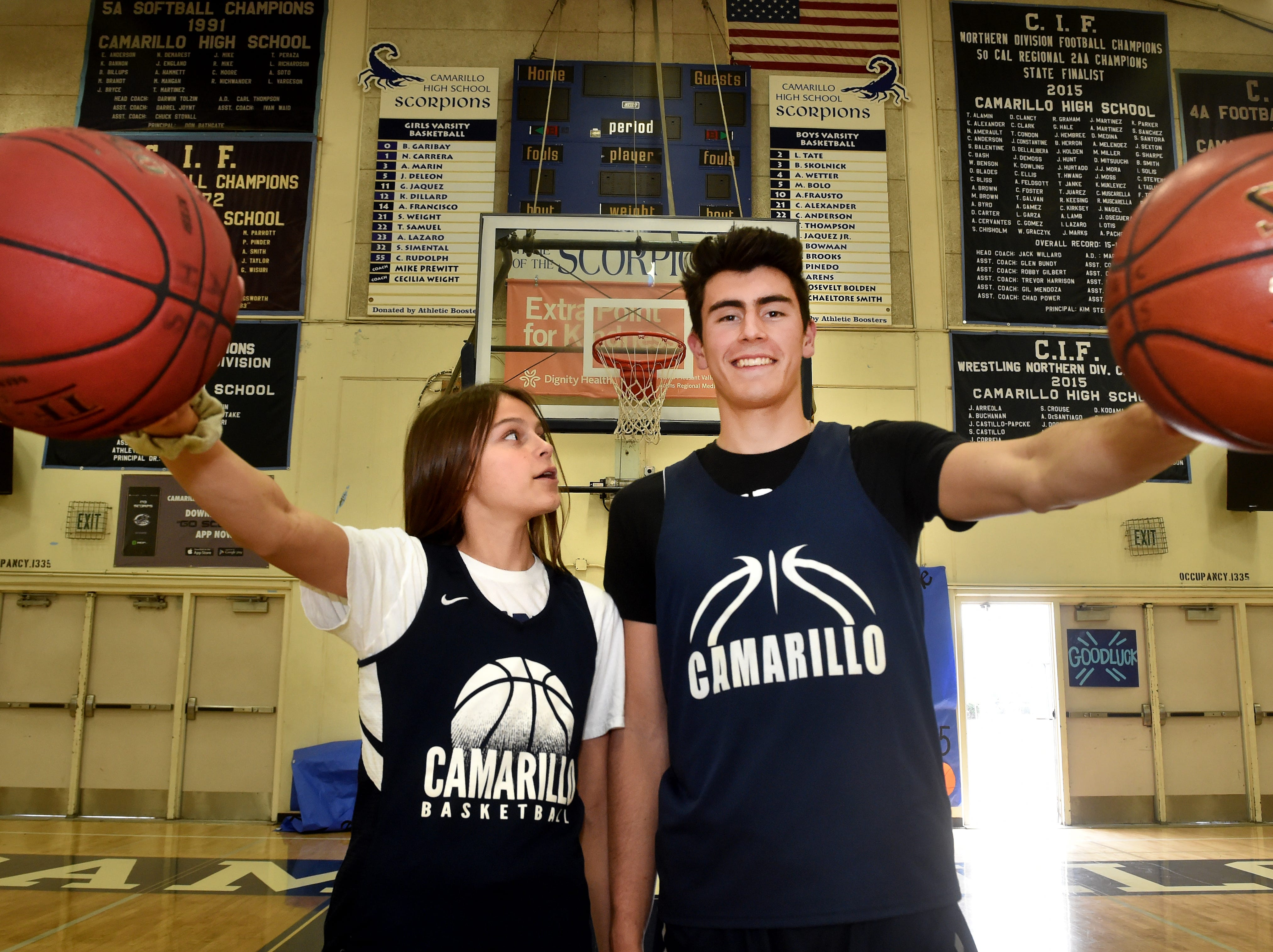 """Gabriela Jaquez, a 5-foot-9 freshman guard at Camarillo High, looks up to her older brother Jaime Jr., a 6-7 senior star who is headed to UCLA, on and off the basketball court. """"I've seen the way my brother treats the little kids who approach him. I hope I can do that. I want little kids to be inspired,"""" Gabriella says."""