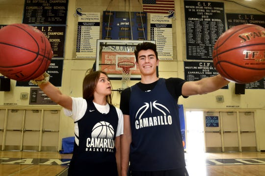 "Gabriela Jaquez, a 5-foot-9 freshman guard at Camarillo High, looks up to her older brother Jaime Jr., a 6-7 senior star who is headed to UCLA, on and off the basketball court. ""I've seen the way my brother treats the little kids who approach him. I hope I can do that. I want little kids to be inspired,"" Gabriella says."