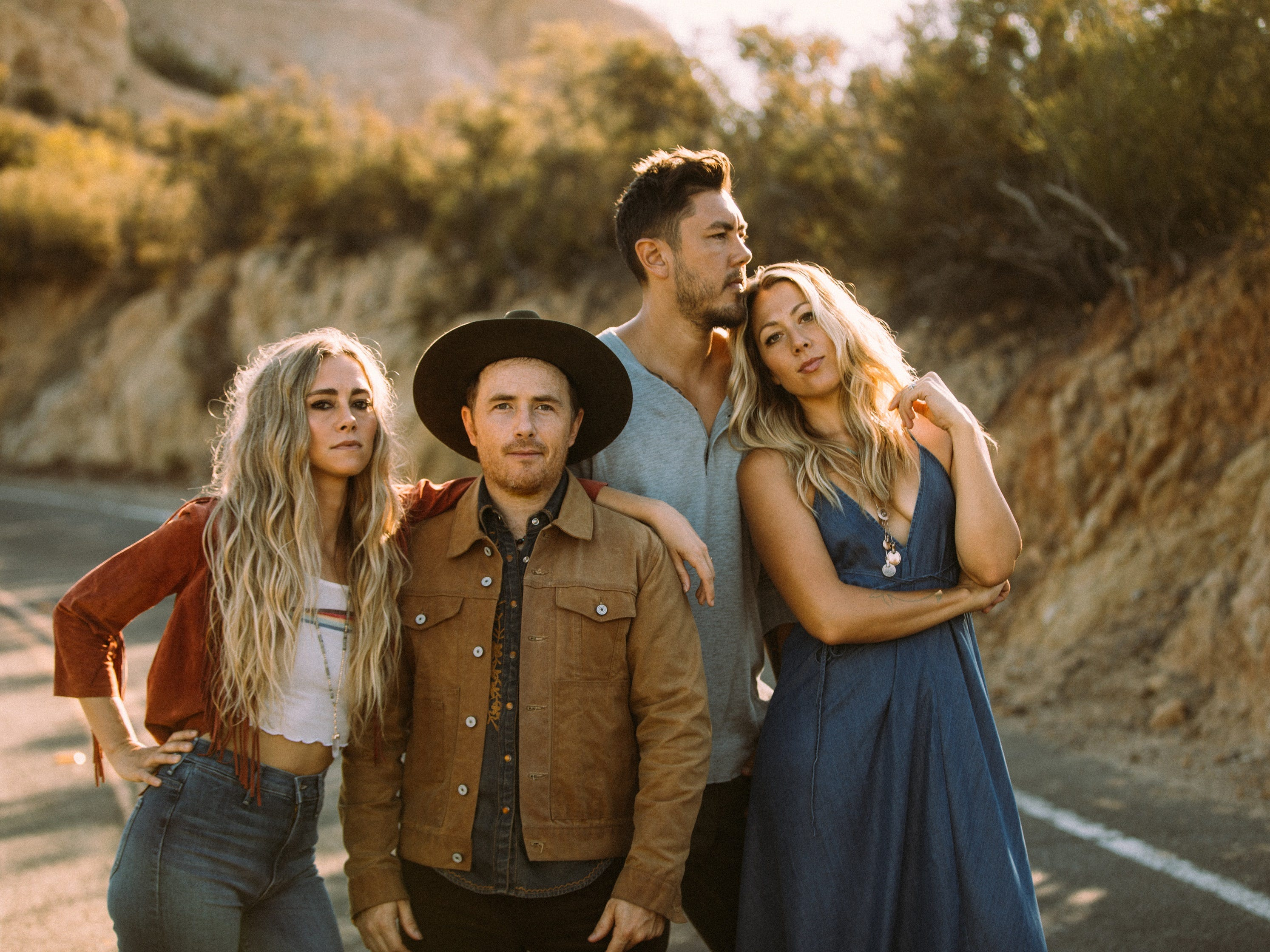 Musician Colbie Caillat, right, will perform at the Borderline Strong concert Feb. 11 in Thousand Oaks with her band Gone West, which includes  Nelly Joy, from left, Jason Reeves and Justin Young.
