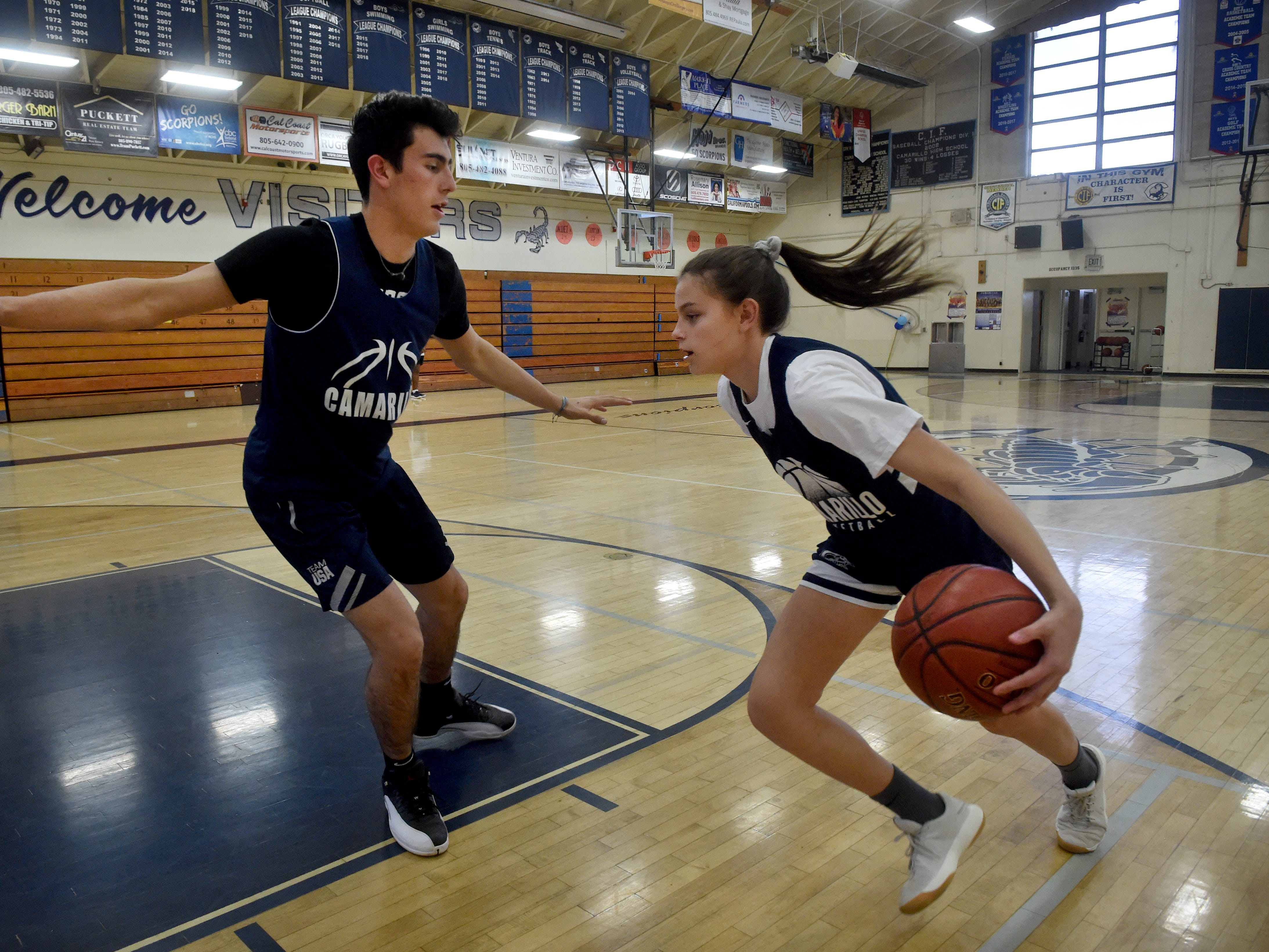 """Gabriela Jaquez, a freshman at Camarillo High, knows trying to beat her older brother Jaime Jr., a senior at Camarillo who is headed to UCLA, on the basketball court is nearly impossible. """"But it's all about learning and getting better. It helps me to improve,"""" she says of the one-on-one games."""