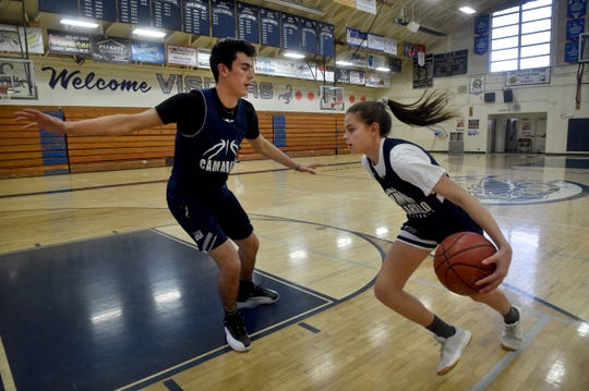 "Gabriela Jaquez, a freshman at Camarillo High, knows trying to beat her older brother Jaime Jr., a senior at Camarillo who is headed to UCLA, on the basketball court is nearly impossible. ""But it's all about learning and getting better. It helps me to improve,"" she says of the one-on-one games."