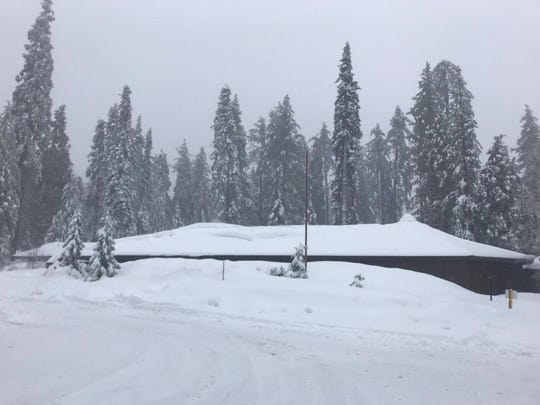 Sequoia and Kings Canyon is getting lots of white snow. Check out the Kings Canyon Visitor Center covered in snow.
