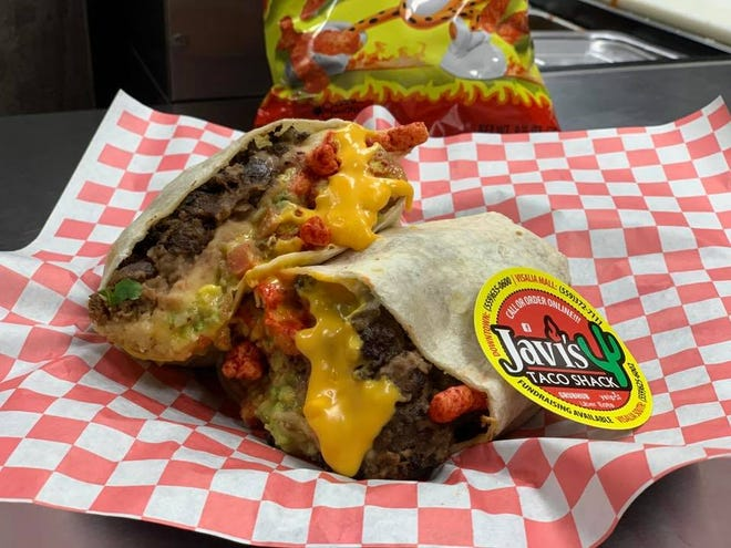 Vote on the name of Javi's Taco Shack newest creation: A Flamin' Hot Cheetos and nacho cheese-stuffed burrito