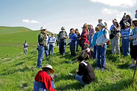 Fletcher Linton, botonist for the National Forest Service, leads an annual walk at Lewis Hill and informs participants of the unique geological conditions that make this flower bloom