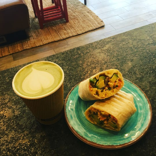 Coffee with an egg wrap with avocado at Mimi's Coffee Shop in Mount Kisco.