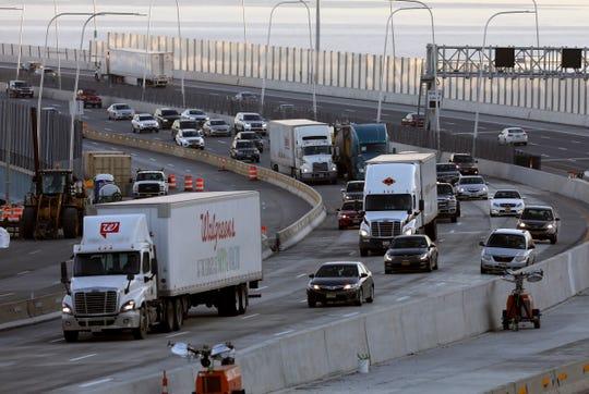 Truck traffic on the Gov. Mario M. Cuomo Bridge on Monday, February 4, 2019.