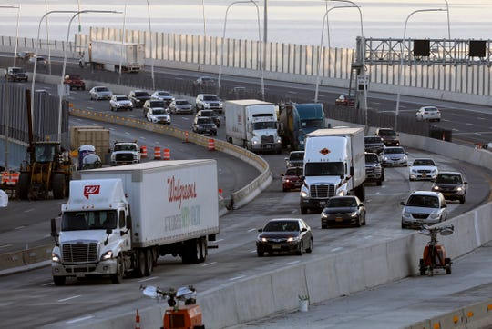 Truck traffic on the Gov. Mario M. Cuomo Bridge on Monday, February 4, 2019.