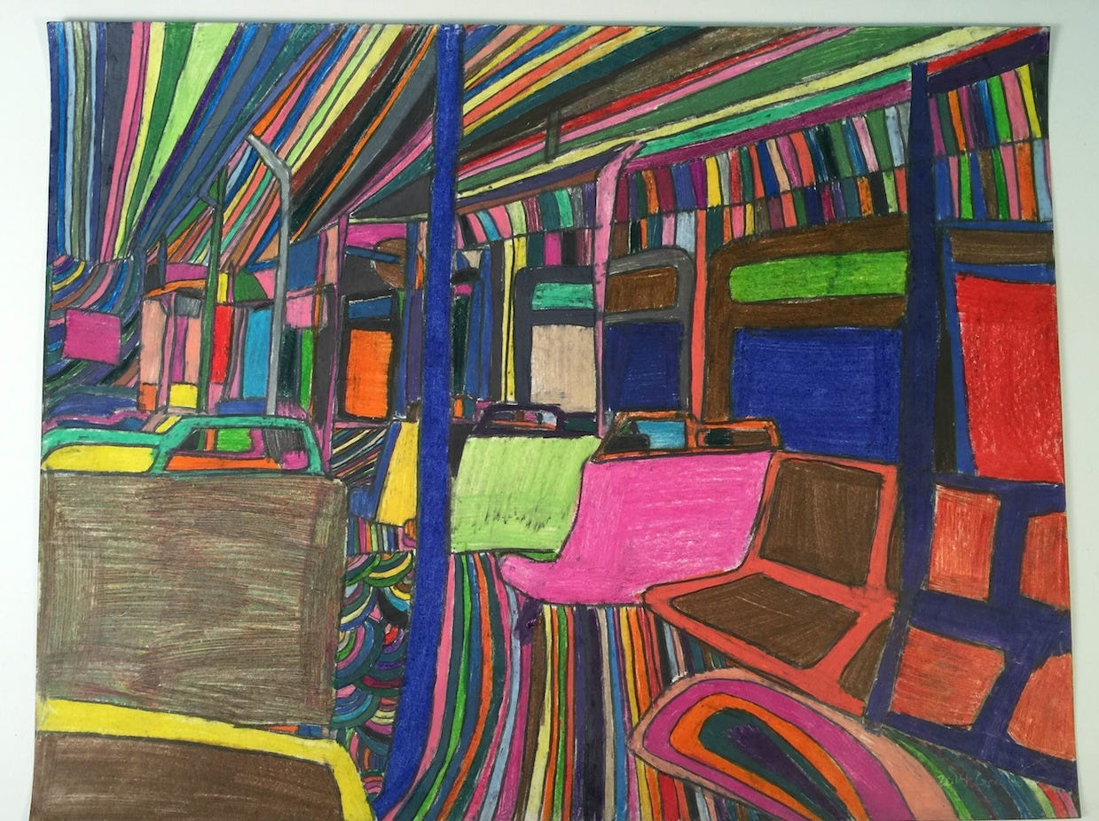 Geraldo Gonzalez's vibrant poster-board-sized works often focus on Delaware buses.