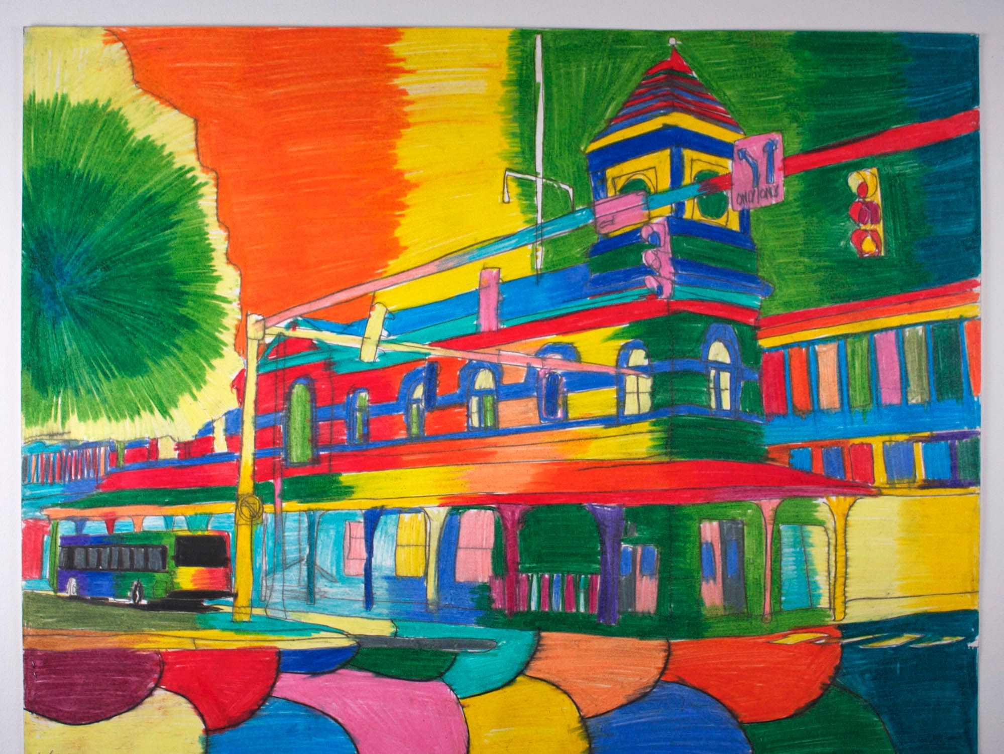Geraldo Gonzalez's depiction of the Wilmington Train Station, with -- wait for it -- a bus waiting for passengers.