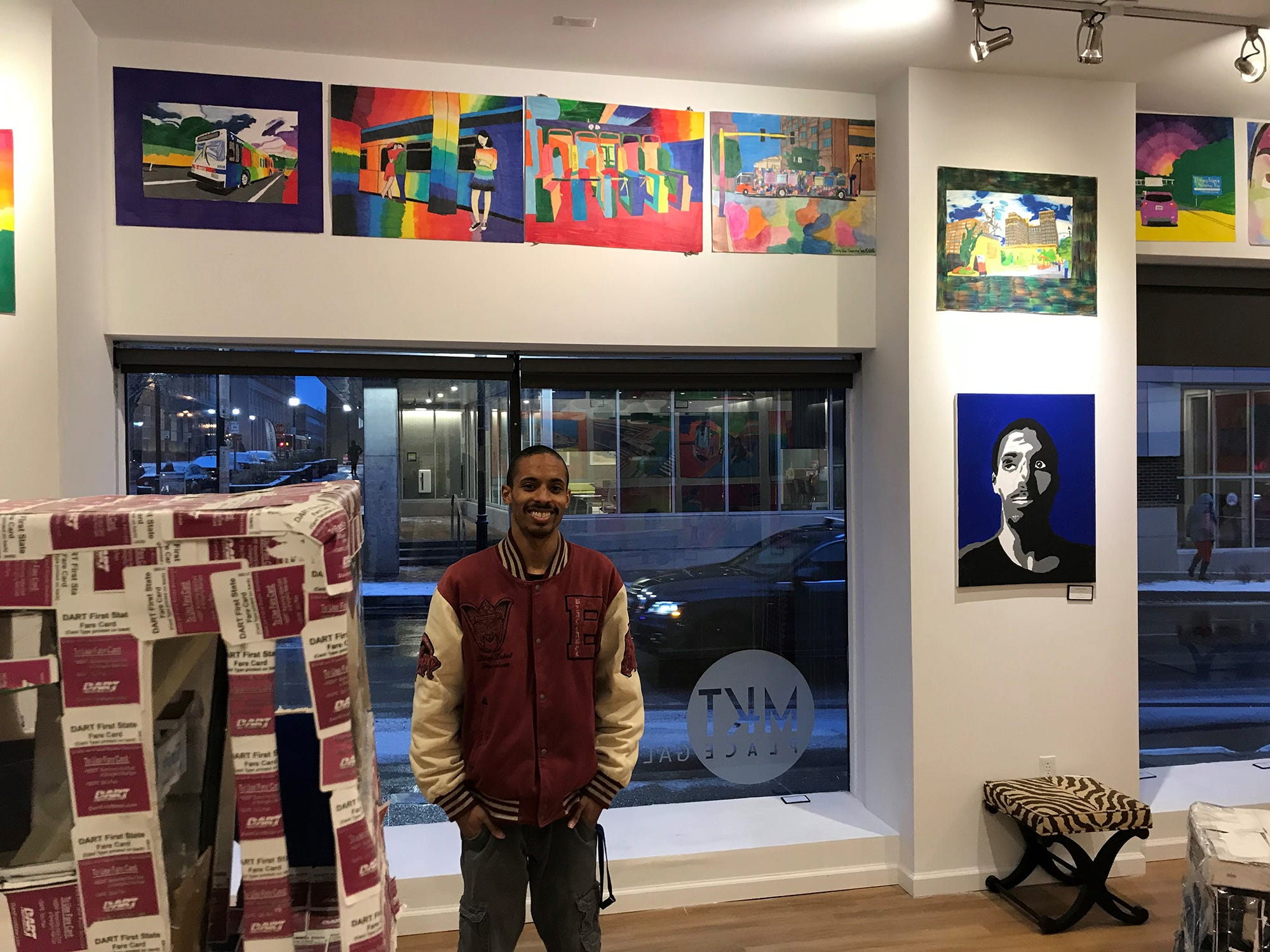 Geraldo Gonzalez, who is fascinated by buses and transportation, has an exhibit of his work on Market Street in Wilmington.
