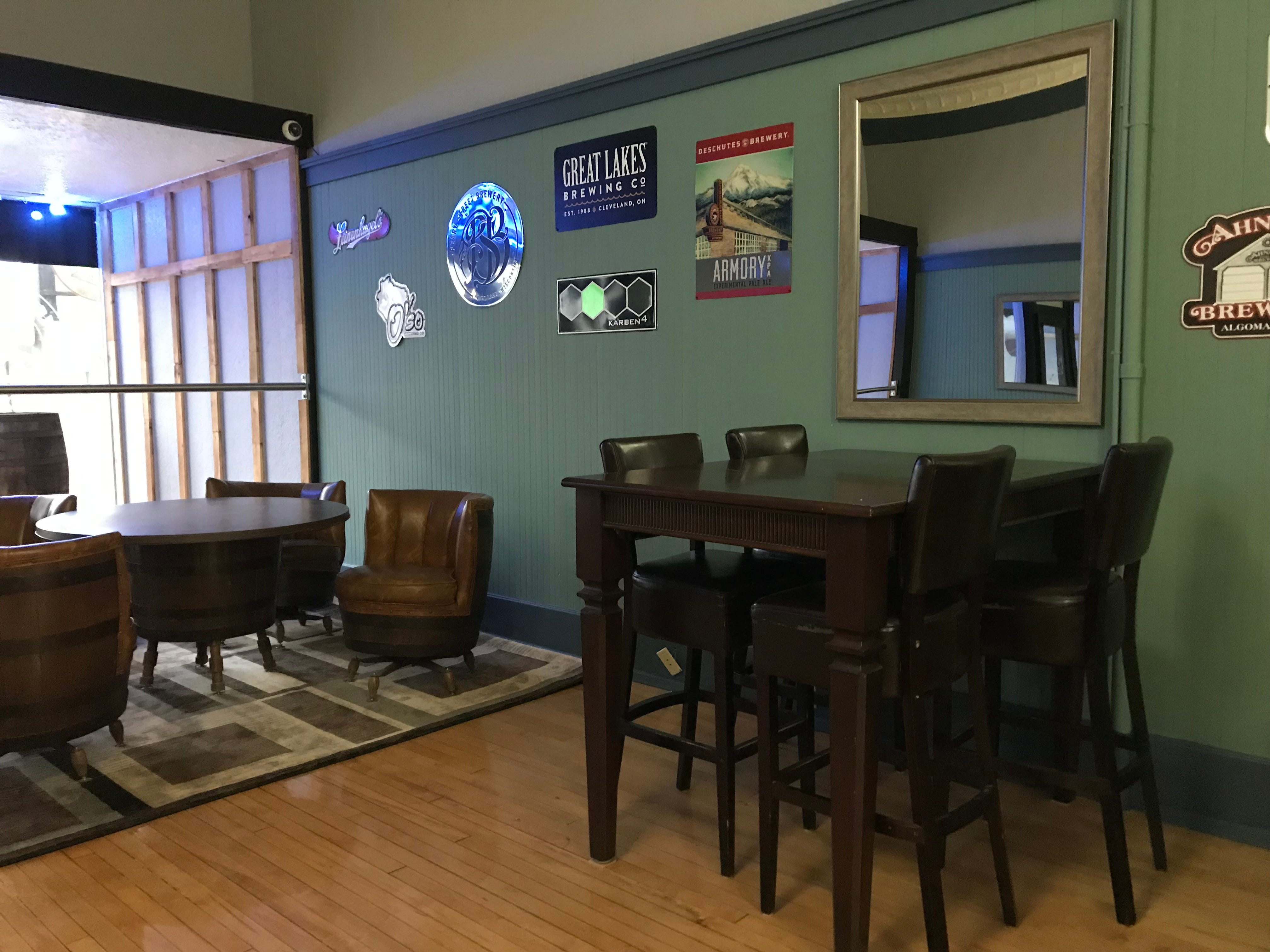There are various seating options at B's Tap House for people to relax and have conversations.