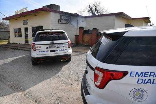 Wichita Falls Police investigate an alleged aggravated robbery Tuesday morning at Prine's Barbecue on 13th Street. Two suspects are in custody.