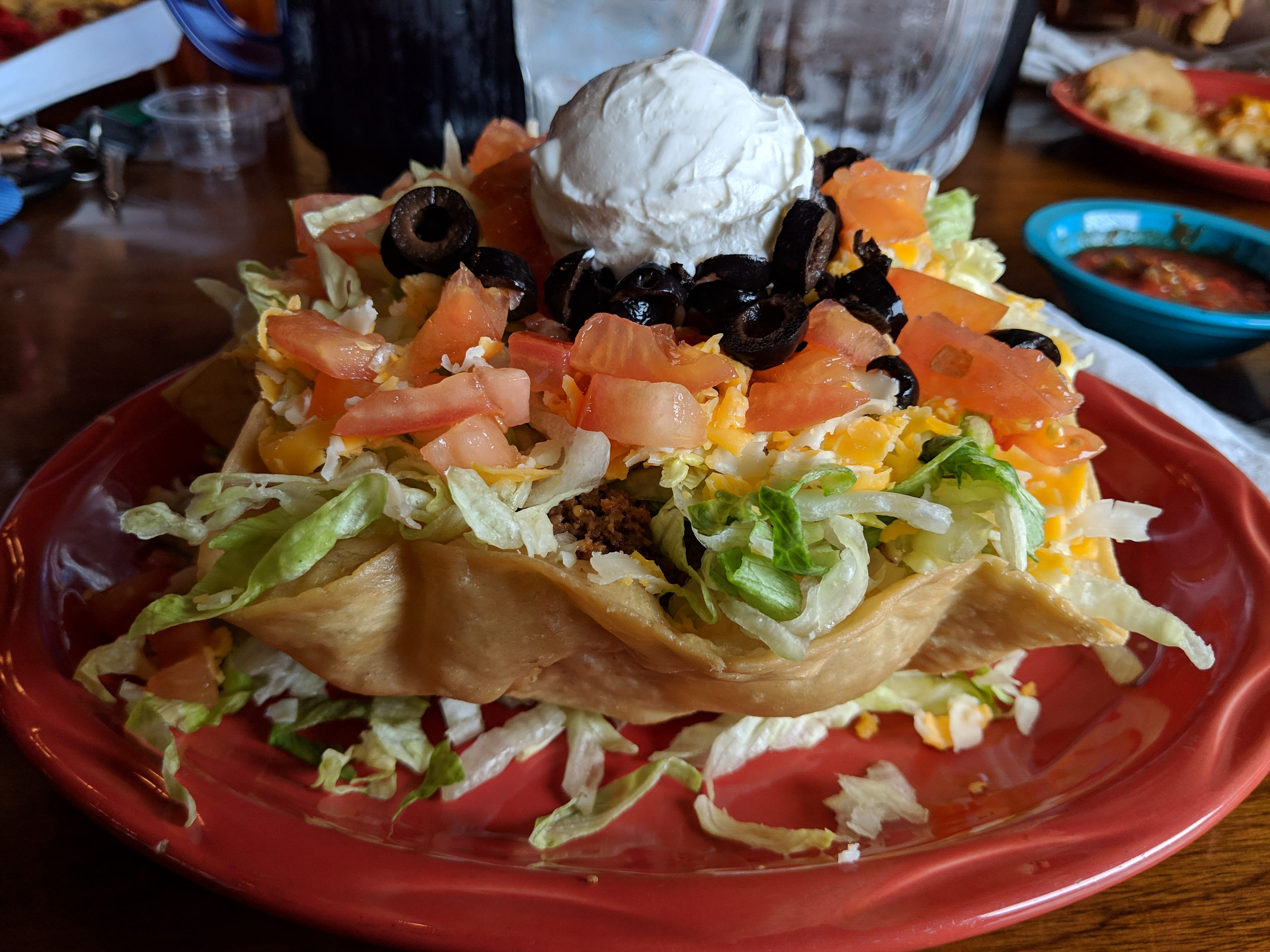 The lunch taco salad with beef at El Mejicano Restaurant and Cantina.