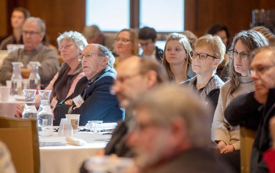 Attendees listen to a session at the 2019 Wisconsin Agricultural Outlook Forum at Union South at UW–Madison in Madison, Wis., Tuesday, Jan. 29, 2019.