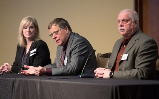 From left, Brenda Boetel, a professor of agricultural economics at UW-River Falls, Paul Mitchell, professor of agricultural and applied economics at UWÐMadison, and  Mark Stephenson, professor of agricultural and applied economics at UWÐMadison, participate in a panel during the 2019 Wisconsin Agricultural Outlook Forum at Union South at UW-Madison in Madison, Wis., Tuesday, Jan. 29, 2019.