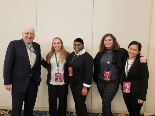 Three Wisconsin students attended the World Food Prize Global Youth Institute last year. Photo shows (left to right): Kenneth Quinn, president of the World Food Prize Foundation; Kaitlyn Holmgren; Samya Hickman; Madeline Lund; and Plia Xiong, UW–Madison CALS Office of Academic Affairs.