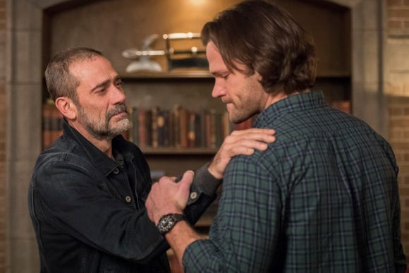 "John Winchester (Jeffrey Dean Morgan, left) has an emotional reunion with son Sam (Jared Padalecki) in the 300th episode of ""Supernatural."""