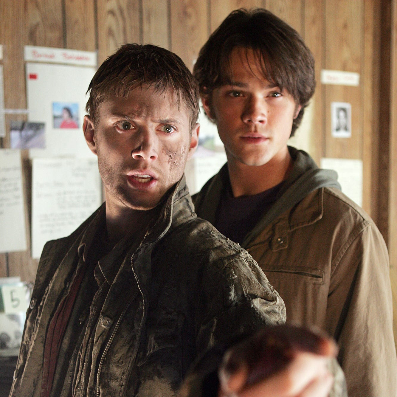 "Jensen Ackles (left) as Dean Winchester and Jared Padelecki as brother Sam in the 2005 ""Supernatural"" pilot."