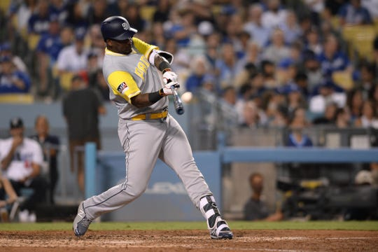 San Diego Padres outfielder Franmil Reyes hit a home run in the seventh inning of an Aug. 25 game at Dodger Stadium. His foul ball in the ninth inning hit and killed a fan.