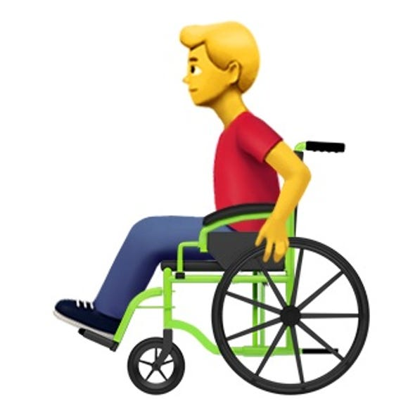 A man in a wheelchair emoji proposed from Apple.