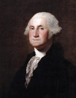A portrait of George Washington.