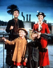 Dick Van Dyke (Bert), Julie (Mary Poppins), Karen Dotrice (Jane Banks) and Matthew Garber (Michael Banks).