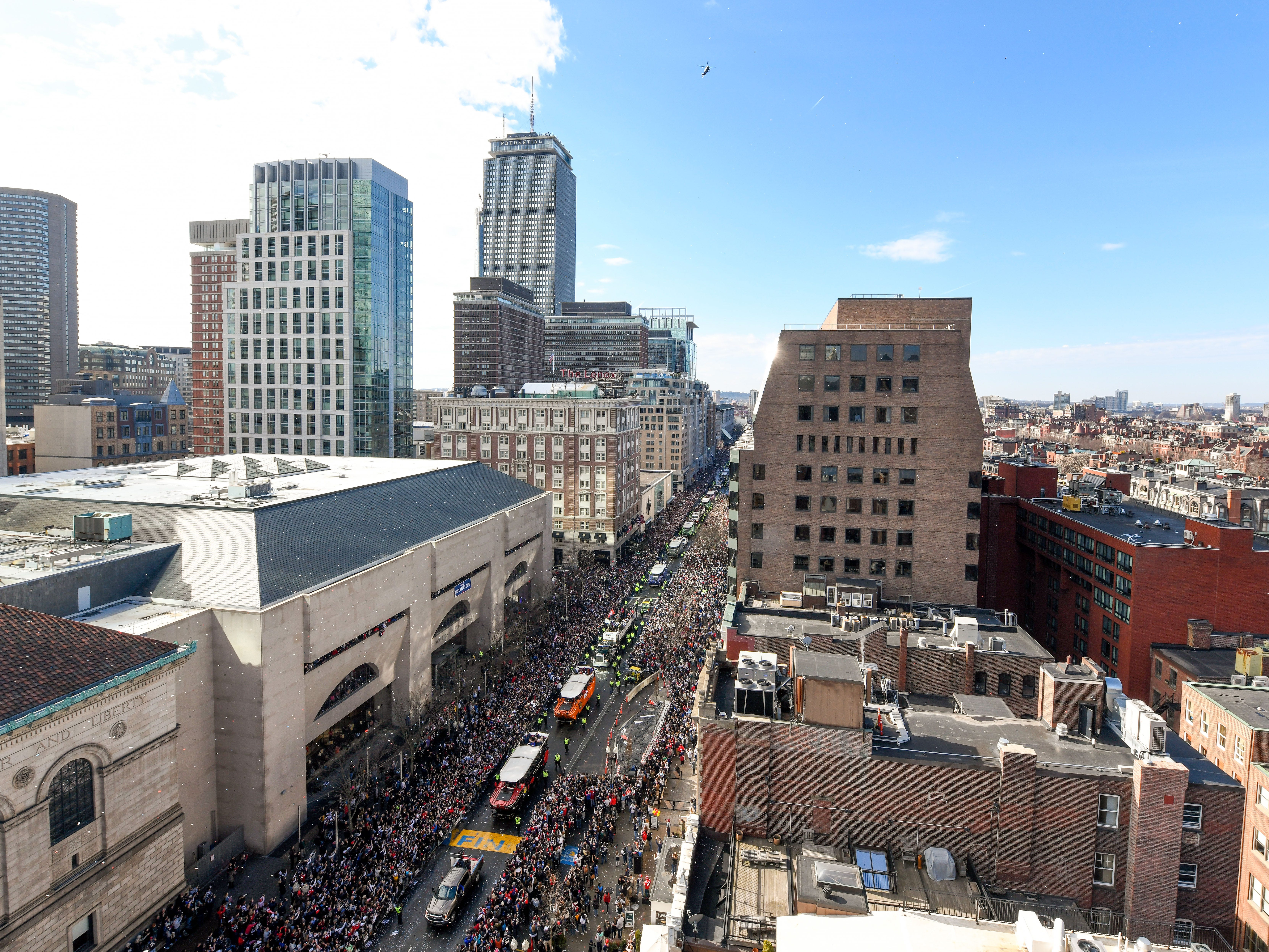 A general view of Boylston Street during the Super Bowl LIII championship parade near Copley Square.