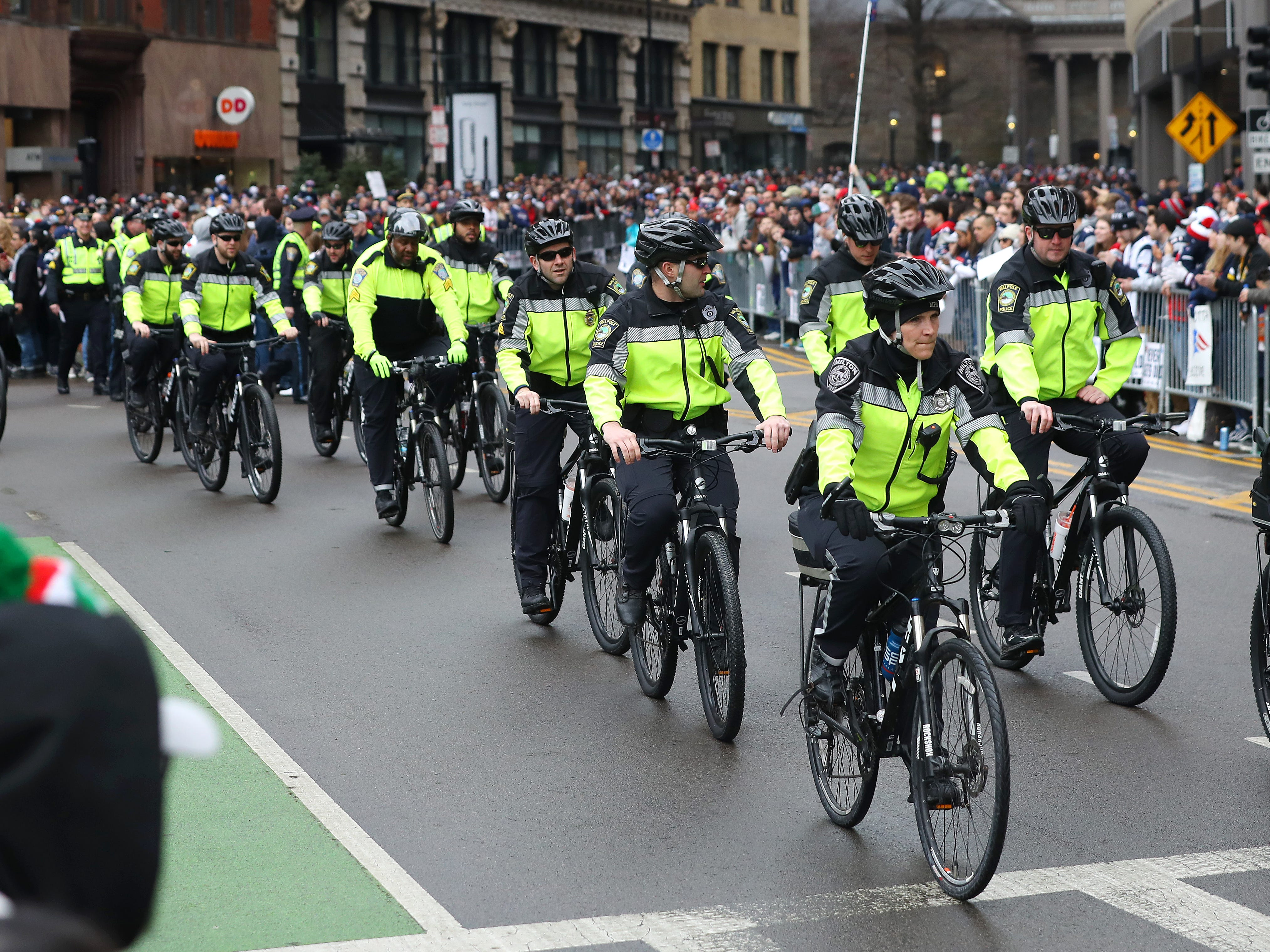 Police officers ride bikes on the parade route down Cambridge street ahead of the New England Patriots Victory Parade in Boston, Massachusetts. (Photo by Maddie Meyer/Getty Images)