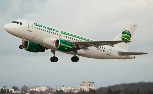 An Airbus A319 of the German airline Germania takes off from Stuttgart, Germany, on Jan. 2, 2018.