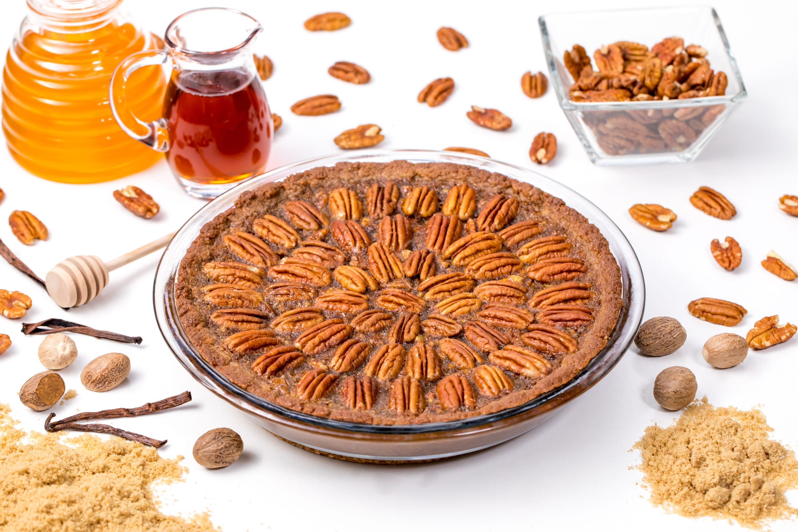 """Pecan pie is a beloved favorite for many, but traditional pecan pie recipes are not vegan — at all. Eggs (usually multiple) and butter are mainstays of this delightful dish. Is is possible to make a <a href=""""https://www.thanksgiving.com/recipes/dessert-recipes/vegan-pecan-pie?utm_source=veganvalentinesdesserts"""" target=""""_blank"""">vegan pecan pie</a>, like this one inspired by<a href=""""https://chocolatecoveredkatie.com/2017/12/11/vegan-pecan-pie-recipe/"""" rel="""