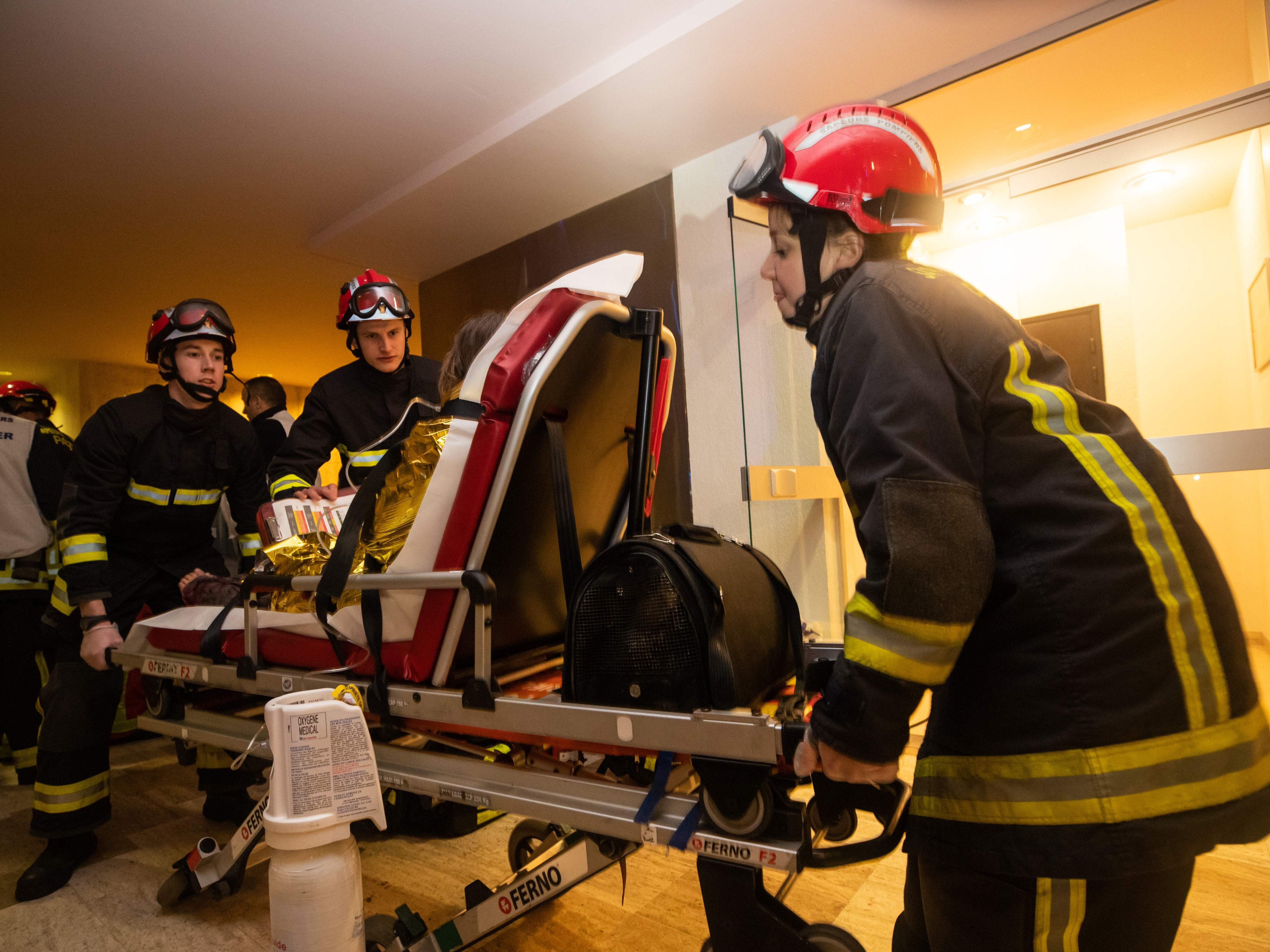 This handout picture taken and released by the Paris firefighters brigade in the night of Feb. 5, 2019 shows firemen carrying a person and her cat on a gurney in a hospital following a fire that killed 8 in a building in Erlanger street in the 16th arrondissement in Paris.