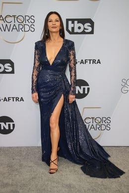 Jan 27, 2019; Los Angeles, CA, USA; Catherine Zeta-Jones arrives at the 25th Annual Screen Actors Guild Awards at the Shrine Auditorium. Mandatory Credit: Dan MacMedan-USA TODAY NETWORK (Via OlyDrop)