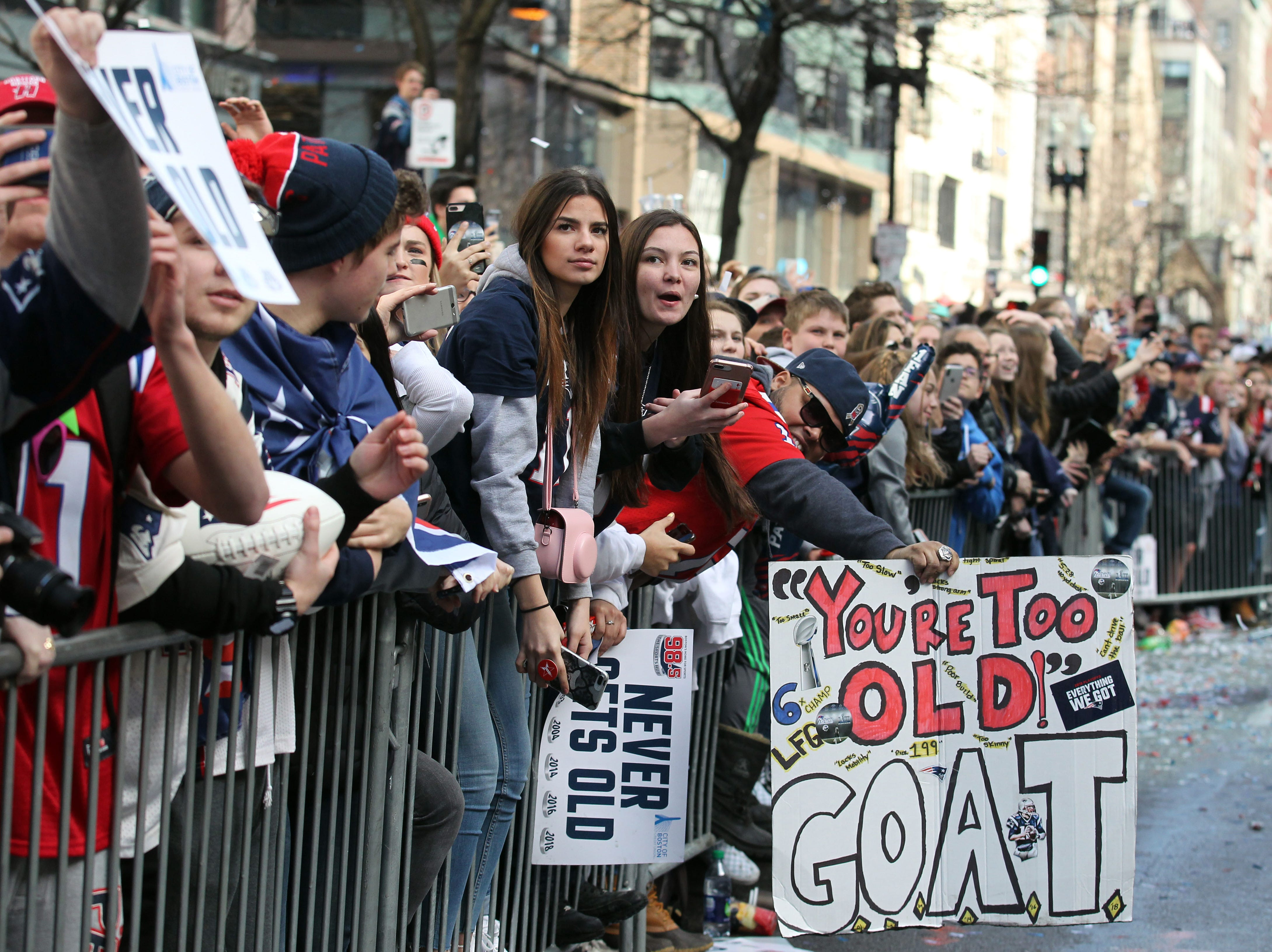 New England Patriots  fans cheer on their team during the Super Bowl LIII championship parade.