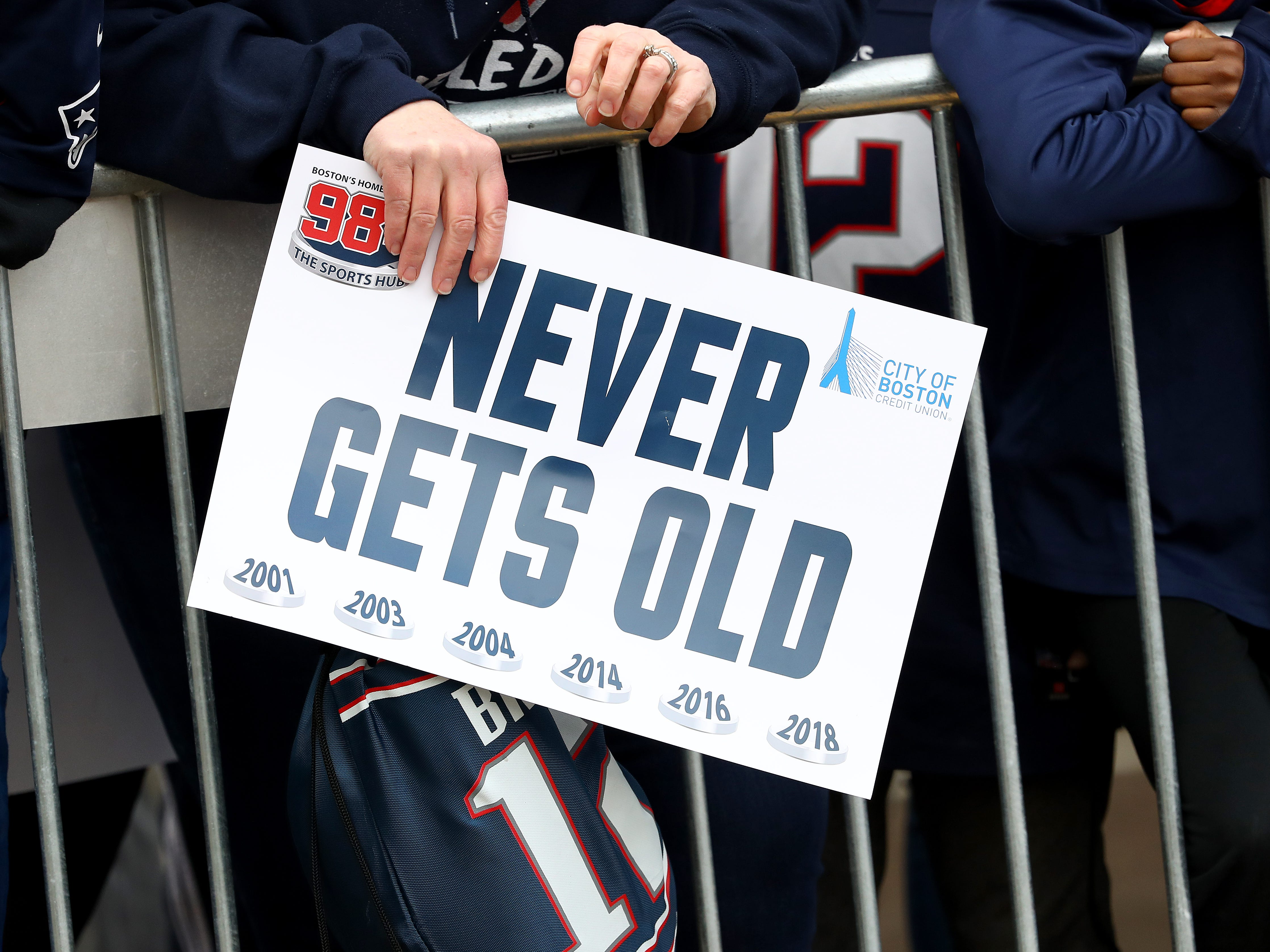 A fan holds a sign to celebrate during the New England Patriots Victory Parade on February 05, 2019 in Boston, Massachusetts. (Photo by Maddie Meyer/Getty Images)