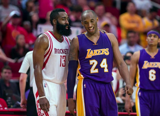 James Harden and Kobe Bryant during a 2016 game.