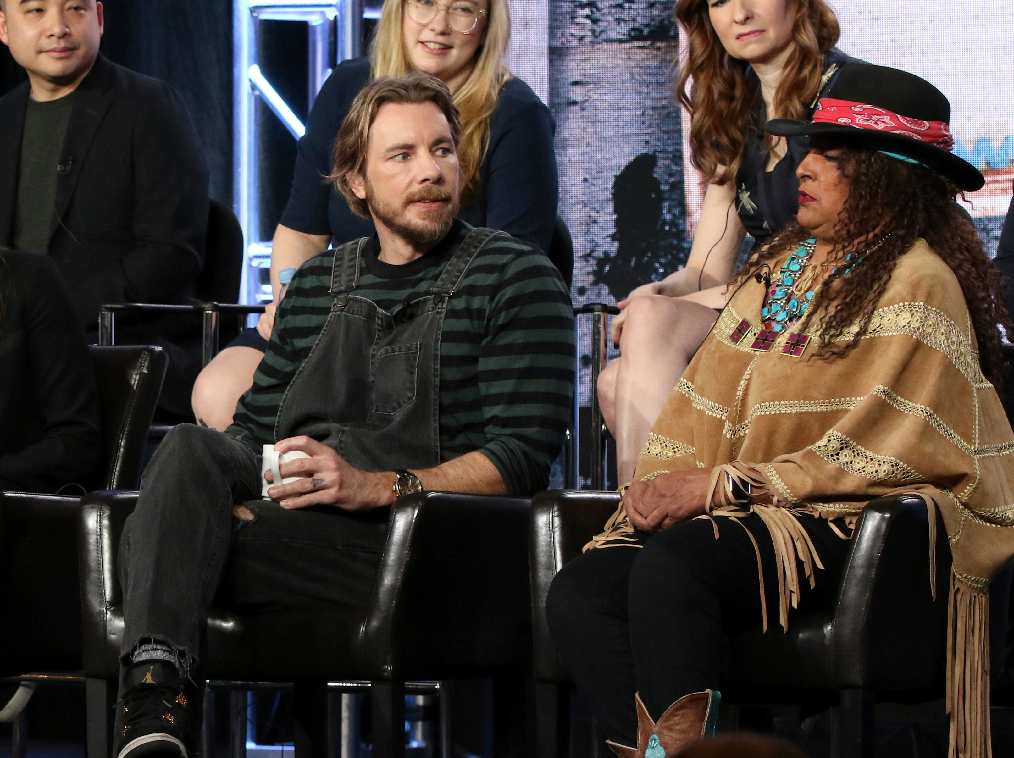 """Dax Shepard and Pam Grier participate in the """"Bless This Mess"""" panel during ABC's presentation at the TCA press tour."""