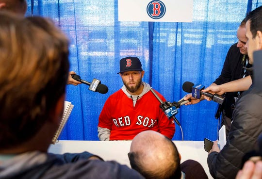 Pedroia speaks to reporters on World Series media day in October.