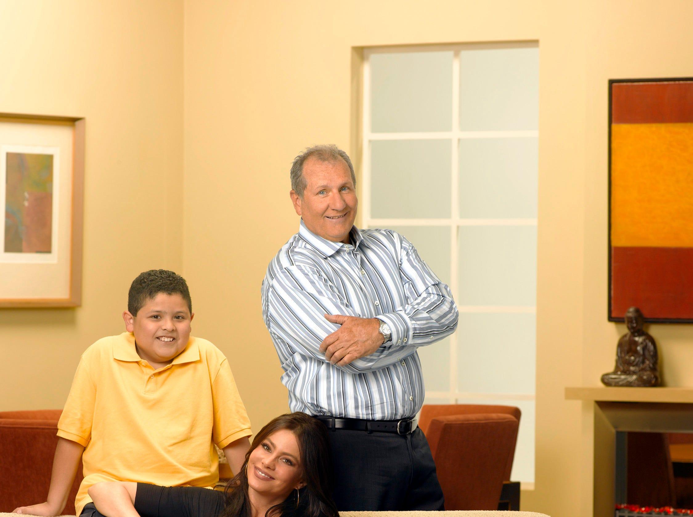 "Rico Rodriguez as Manny, Sofía Vergara as Gloria and Ed O'Neill as Jay in the first season of ""Modern Family."""