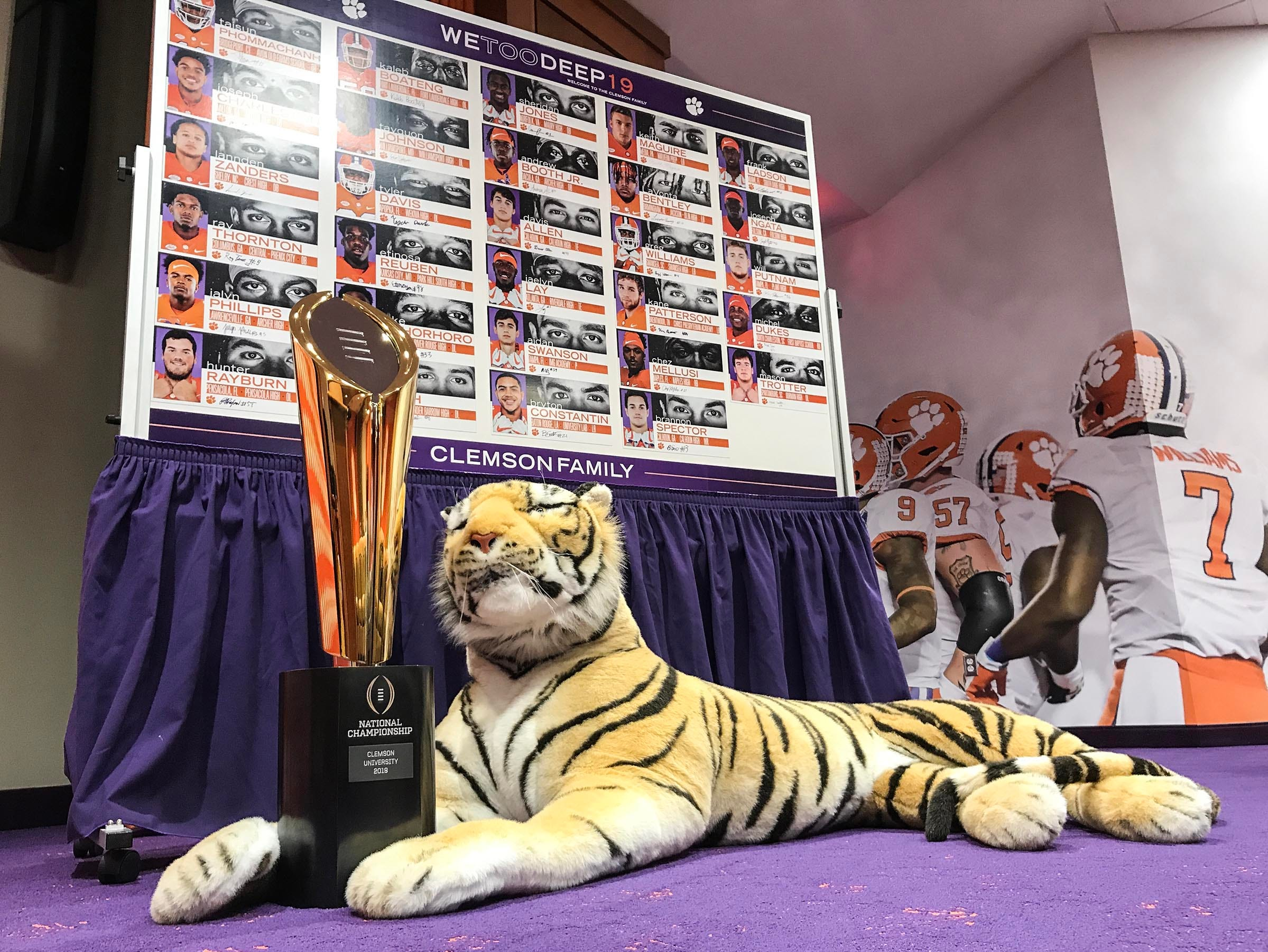 A chart with photographs and information about 29 signing class football players during National Letter of Intent signing day press conference in Clemson Wednesday.