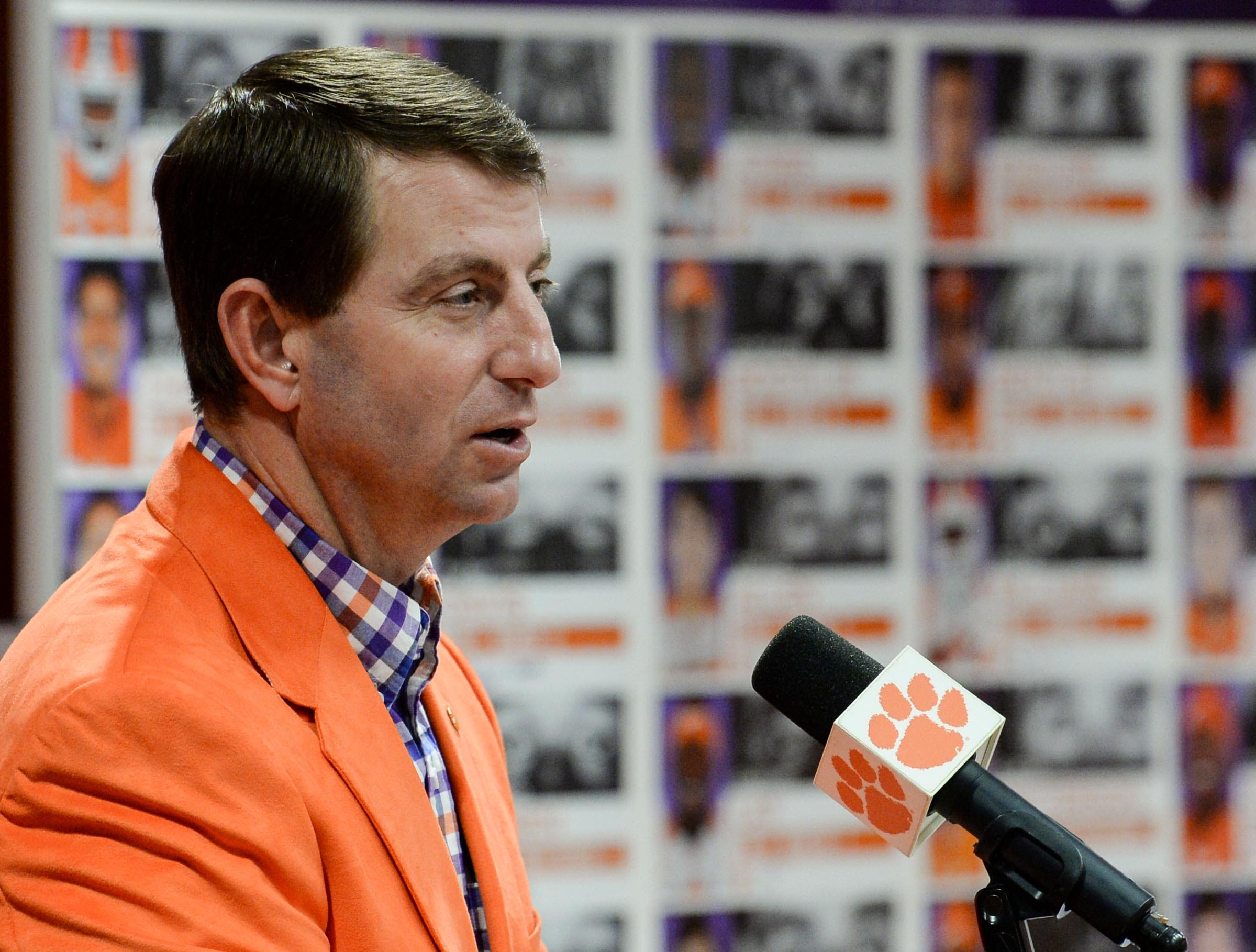 Clemson head coach Dabo Swinney speaks during National Letter of Intent signing day press conference in Clemson Wednesday.