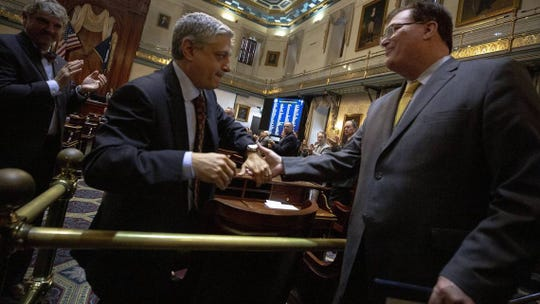 S.C. House Speaker Jay Lucas, R-Darlington, shakes hands with state Rep. Leon Stavrinakis, D-Charleston, after being elected speaker during a session at the South Carolina State House Tuesday Dec. 4, 2018, in Columbia, S.C.