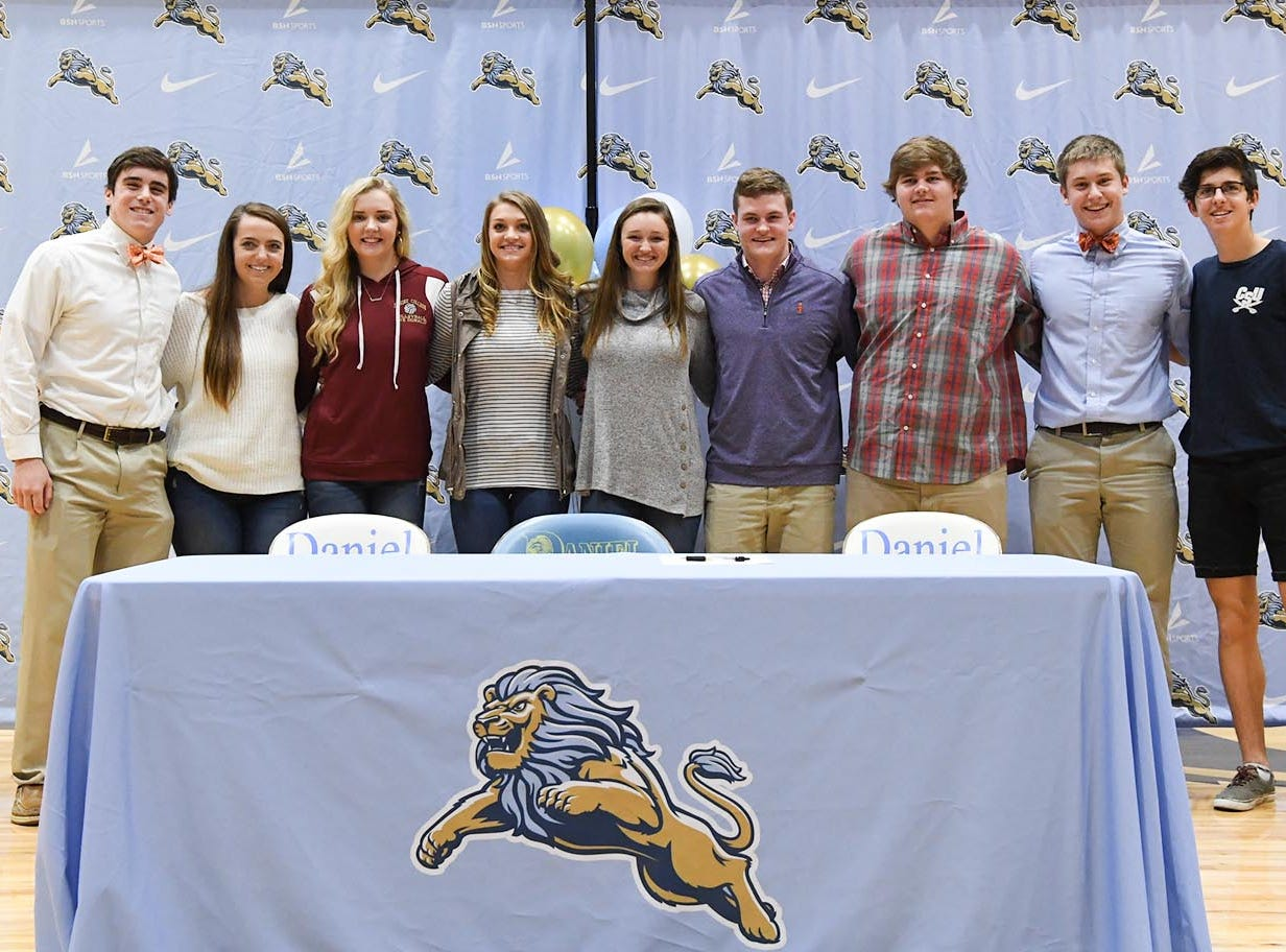 D.W. Daniel High School seniors who signed during National Letter of Intent signing day at D.W. Daniel High School in Central Wednesday. From left, David Cote (Clemson football), Emileigh Swords (SWU golf), Eve Donald (Erskine volleyball), Makayla Sexton (SWU softball), Gillian O'Brien (Gardner Webb golf), Hampton Earle (Clemson football), Campbel Guffee(Gardner Webb football), Matthew Maloney (Clemson football), and Alex Zangara (Charleston Southern cross country).