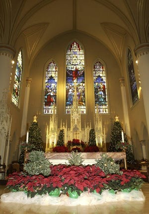 St. Francis Xavier Cathedral, decorated for Christmas in 2004.