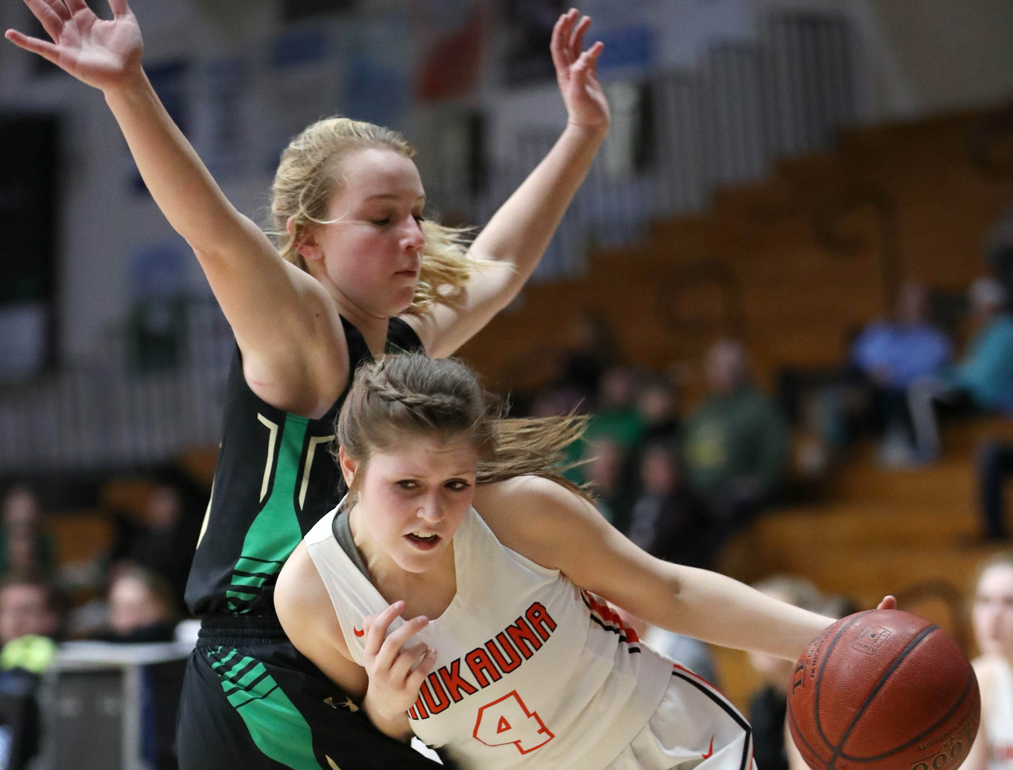 Kaukauna High School's Graysin Hartjes tries to push past Oshkosh North High SchoolÕs Brooke Ellestad during their game Tuesday, Feb. 5, 2019, in Kaukauna, Wis. Oshkosh North defeated Kaukauna High School 77-51.