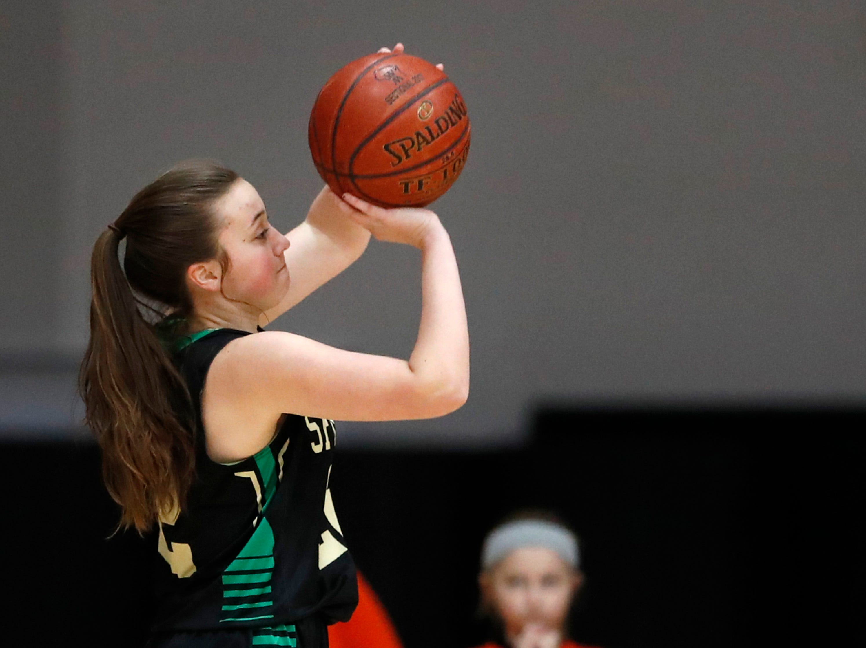Oshkosh North High SchoolÕs Emma Leib takes a shot against Kaukauna High School Tuesday, Feb. 5, 2019, in Kaukauna, Wis. Oshkosh North defeated Kaukauna High School 77-51.