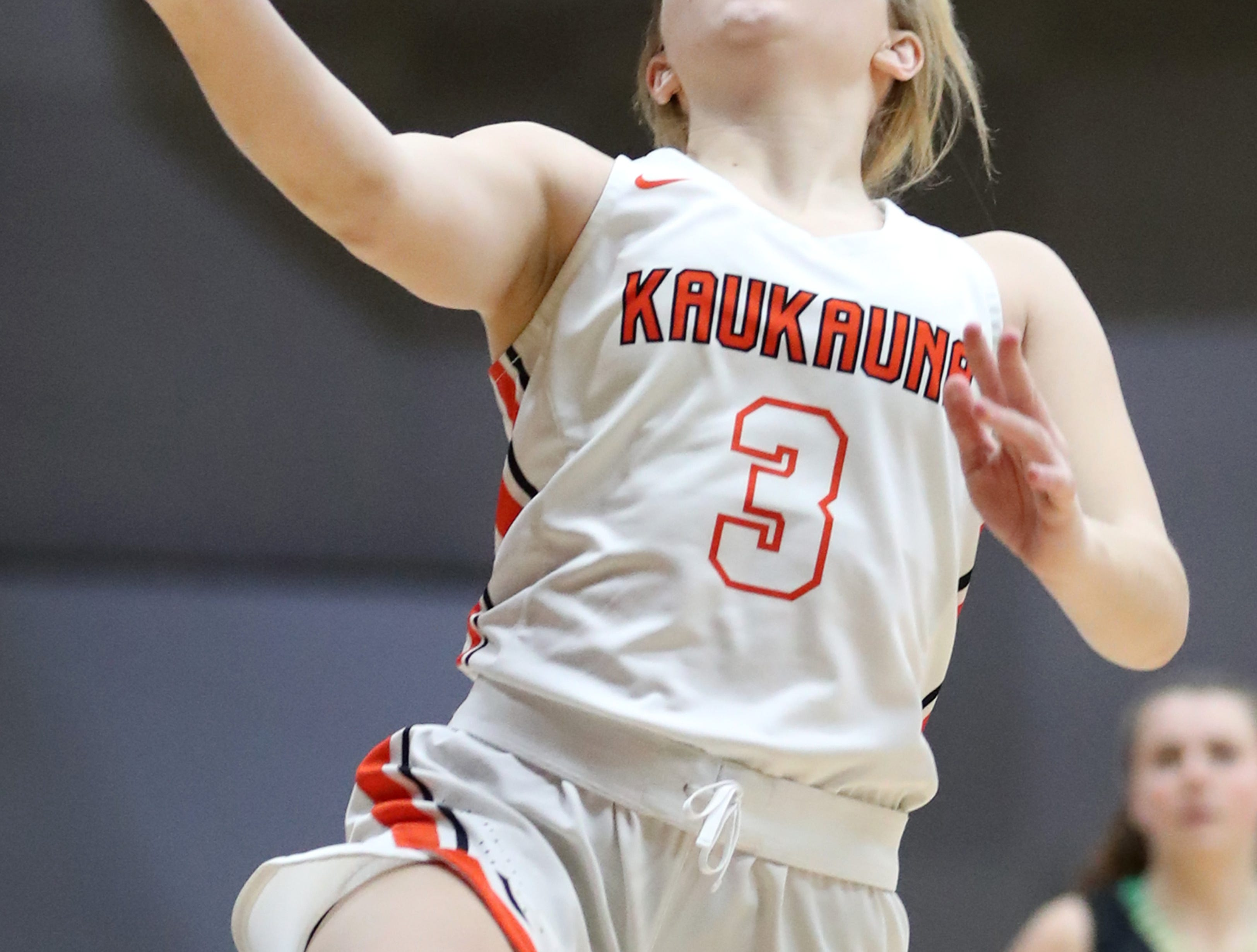 Kaukauna High School's Khloe Hinkens goes for a layup against Oshkosh North High School Tuesday, Feb. 5, 2019, in Kaukauna, Wis. Oshkosh North defeated Kaukauna High School 77-51.